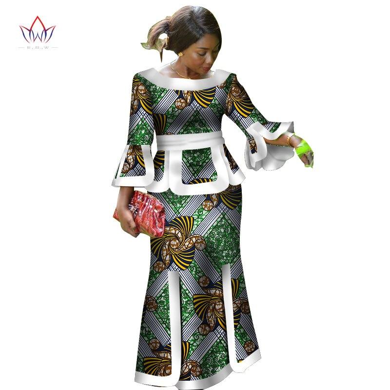 Afrique Deux Pièces Ensemble Pour Les Femmes Mode 2018 Dashiki Poignet Manches des Vêtements Africains Bazin Plus Taille Vêtements Pour Femmes pour la Partie WY2718