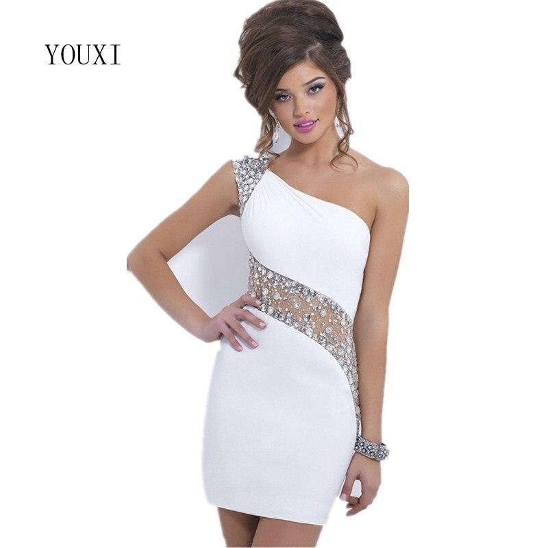 Sexy One Shoulder 2018 New Fashion Homecoming   Dresses   White Column Short   Prom     Dress   vestido de 15 anos curto