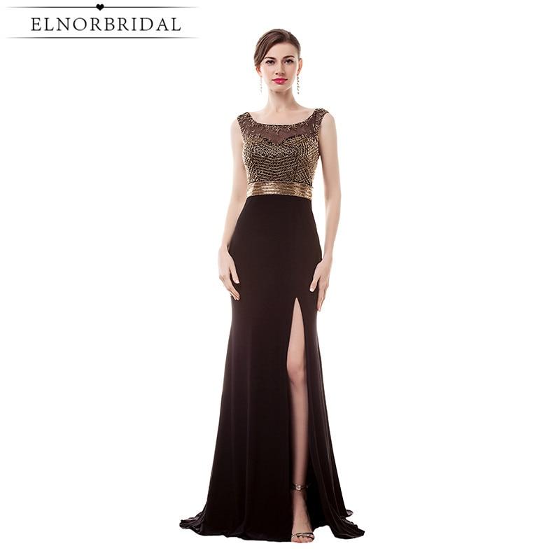 Elegant Formal Evening Dresses Open Back Mermaid Beading Robe De Soiree Special Occasion Split Prom Gowns 2017