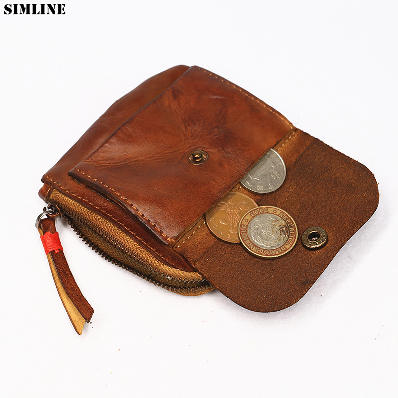 Genuine Leather Wallet Coin Purse Men Women Vintage Handmade Zipper Short Small Slim Wallets Card Holder With Coin Pocket Female