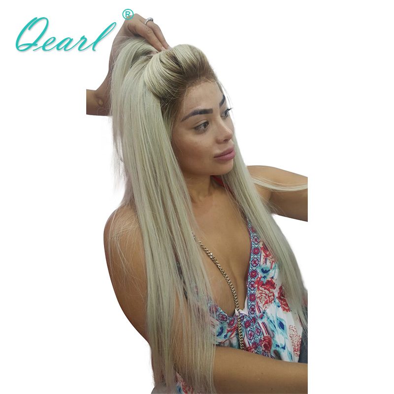 Qearl Brésilien Remy de Cheveux Pleine Perruque de Lacet 4/60 # Blonde Ombre Dentelle Perruque de Vrais Cheveux Humains Pré Pincées délié normal pour Blanc femmes