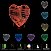 2017 New Novelty Love Heart 3D Led Night Light Touch Sensor Or Remote Swtich Table Lamps