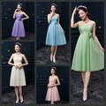 New Cheap Under 40$ Wedding Bridesmaid Dresses With 5 Colors Knee Length Chiffon Backless Ruffle Charming Delicate Short Gowns