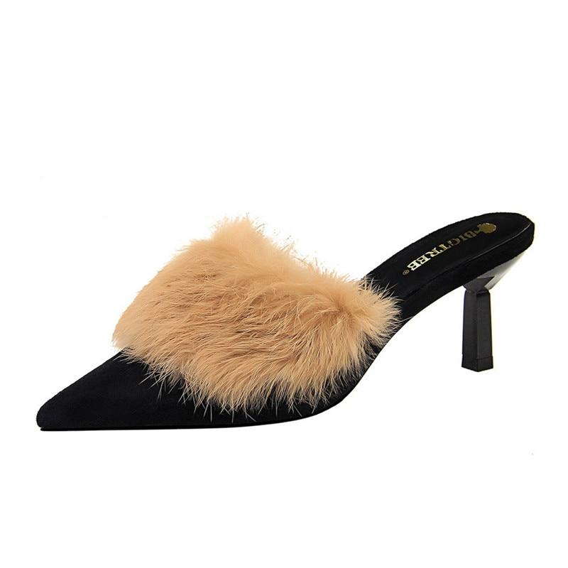 Women Slippers Summer Sandals Mules Shoes High Heels 7.5 cm Fur Sexy Outdoor Luxury Party Pumps Female Sandals Mink Slipper Shoe