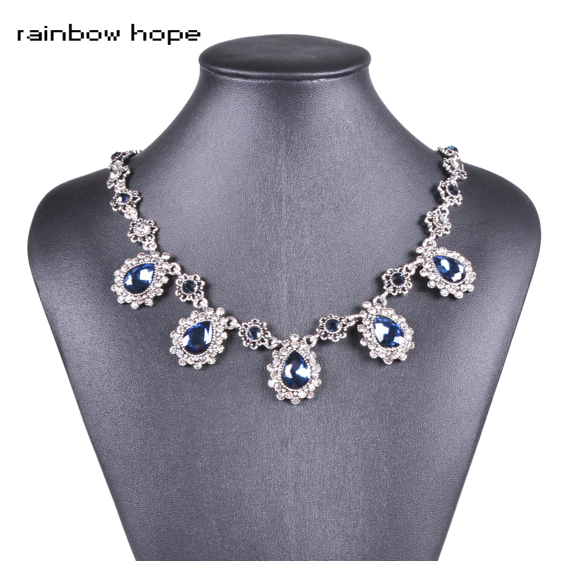 Women's Fashion Necklace Jewelry Navy Blue Water Drop Crystal Stone Vintage Style Antique Silver Color Pendant Choker Necklaces