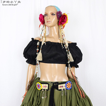ATS BELLY DANCE cotton Renaissance Crop Top Pirate Wench Gypsy Fairy Costume Peasant Crop Top Renaissance Blouse  CEE01 renaissance glow