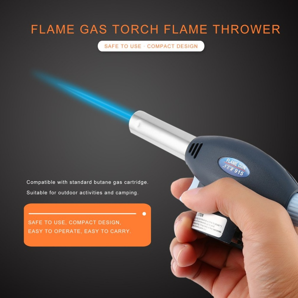 Hiking Camping BBQ Flame Gas Torch Gas Burner Gun Flame Thrower Torch Lighter Automatic Piezoelectricity Ignite Soldering Tool inflatable flame gun torch lighter electricity ignite butane torch outdoor gas burning torch soldering welding camping bbq