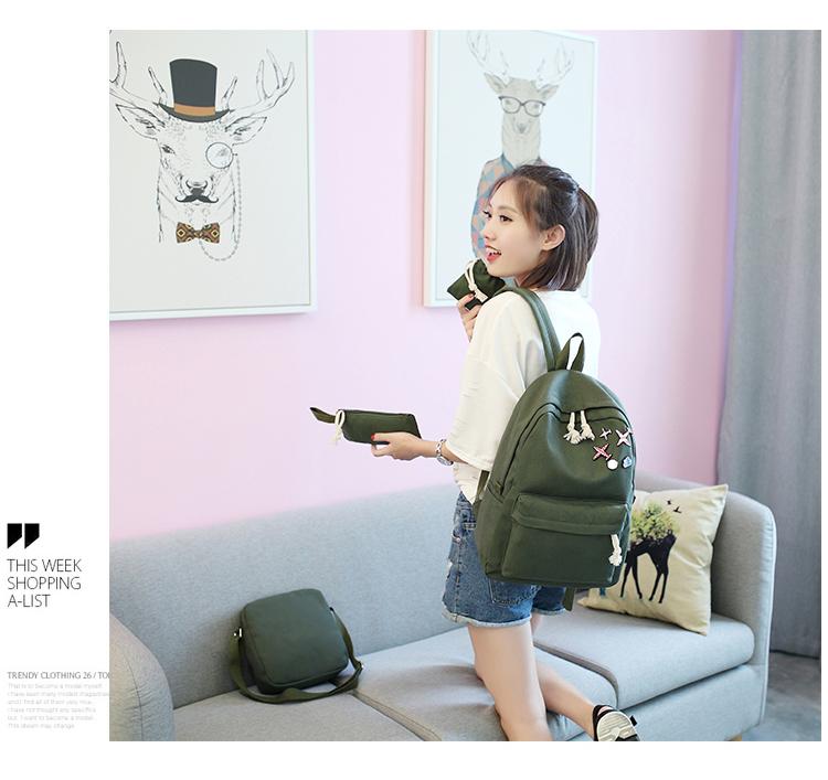 Menghuo 5 Pcsset Women Backpacks Cute Plane Badge School Bags For Teenage Girls Simple Canvas Backpacks Ladies Shoulder Bags (15)