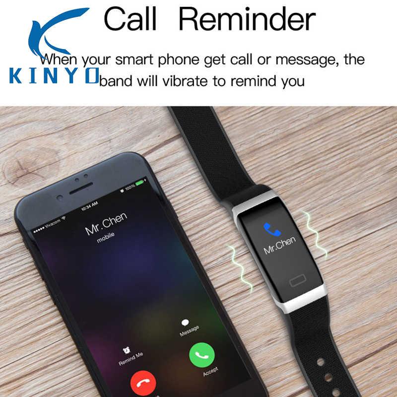 Kinyo 2018 smart band wristband heart rate blood pressure monitoring USB charging Call reminder Three colors selection smartband
