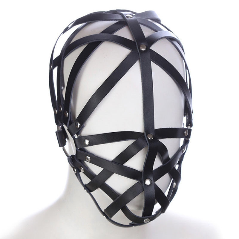 New Head bondage hood mask leather harness restraints belt slave bdsm fetish sex toys for couples adult games cosplay headgear black bondage harness leather belt open mouth gag cover mask slave bdsm restraints adult games fetish sex toys for woman
