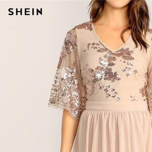 Image 5 - فستان نسائي من SHEIN بتصميم متباين مع رقبة على شكل v وأكمام شبكية مُزين بالترتر موضة 2019 بمشمش للربيع والصيف براقة وخصر عالي