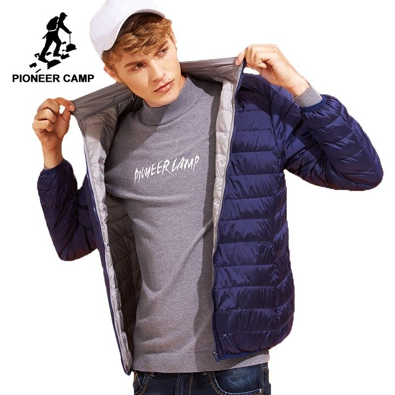 Пионерский лагерь Двусторонняя одежда пуховая куртка мужчины ультра тонкий Packable бренд-качественная одежда белый пуховик мужской AYR701384