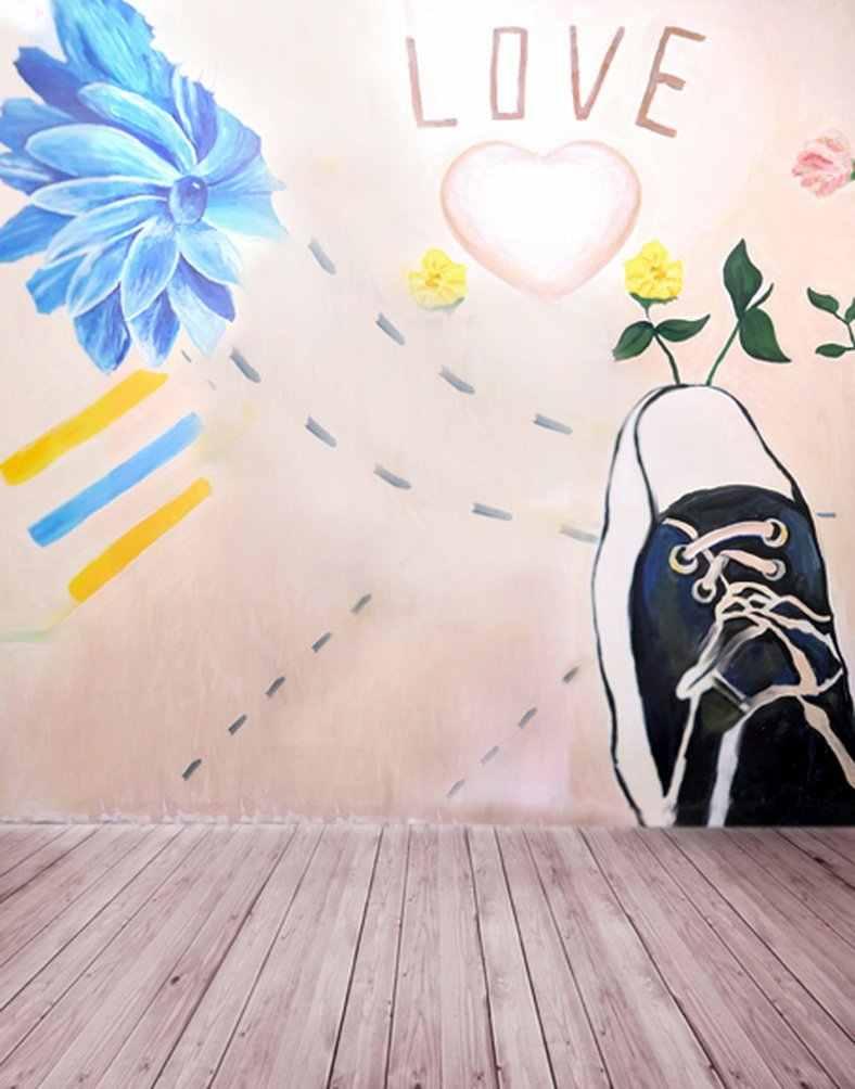 Piso Pintura de Parede Flores Da Árvore Da Sapata de madeira Cenários de Fotografia Adereços Adereços Foto Estúdio Fundo 5x7ft