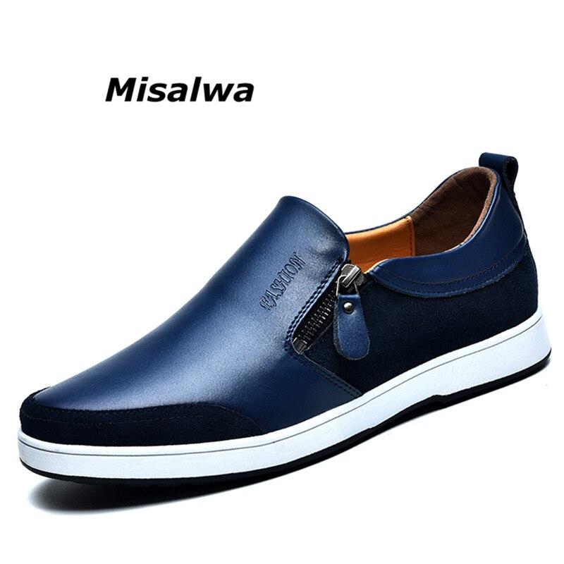 Misalwa marque de luxe en cuir véritable hommes chaussures noir bleu hauteur augmenter Style britannique décontracté ascenseur chaussures pour hommes sans lacet