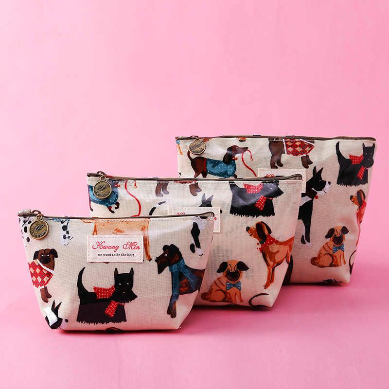 2019 Nova Criativo Cosméticos Bolsa de Maquiagem Sacos Com Padrão Bonito Do Cão E Gato Para Senhoras Mulheres Bolso Saco de Lavagem de Viagem à prova d' água