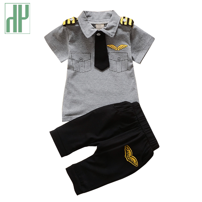 Kids clothes boys summer style short sleeve tie Tops + Pants Outfits Tracksuit set girl clothes Casual baby sailor suit costume