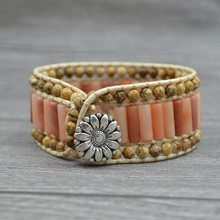 Bohemia aVolcanic Lava Natural Stone Bracelet Handmade Sunflower Leather For Women Men Jewelry Accessories Wholesale