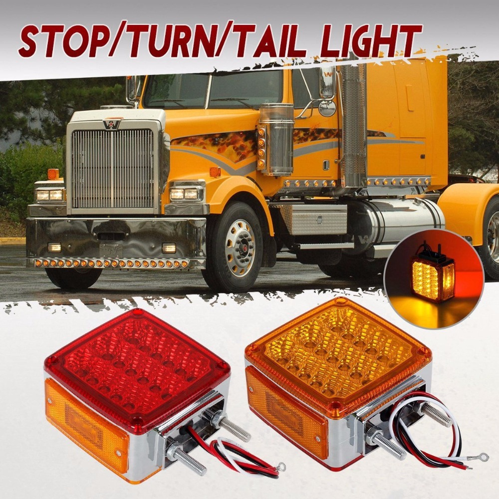 2pc Amber&Red 39 LED Double Face Stud Mount Pedestal 12V/24V Fender Stop Turn Tail Light for Truck Trailer Left and Right Side