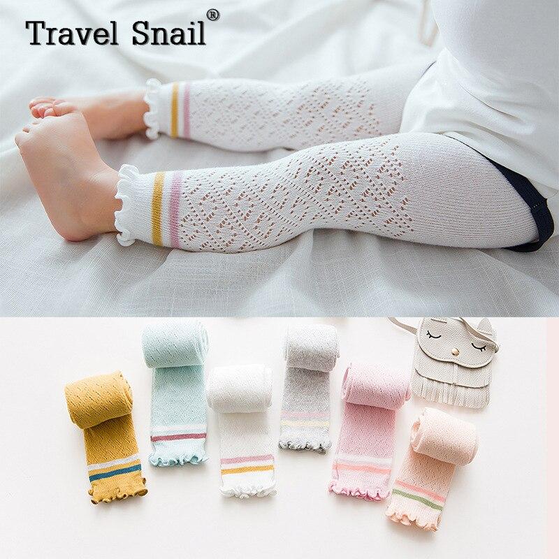 Travel snail baby girls leggings kids pants children trouser for girls clothing striped cotton height 66cm-100cm 2018 Summer New