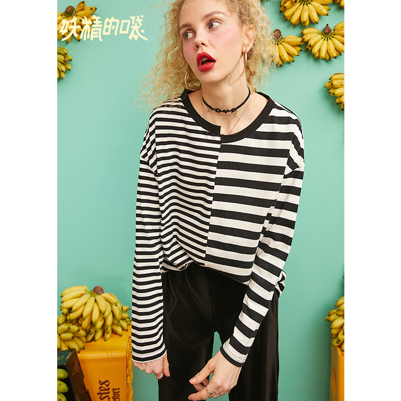 ELFSACK Striped Patchwork Korean Style Oversized T Shirt Women Clothes 2019 Autumn Casual Cute Loose Ladies Top Tee Shirts