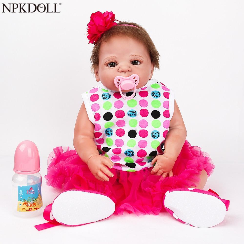 NPKDOLL 22 pouces poupée Reborn corps complet vinyle Reborn bébé poupées jouets pour filles réaliste nouveau-né enfants mode poupées jouet