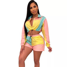 Color Block Patchwork Casual Two Piece Set Women's Sport Suit Full Sleeve Zipper Crop Top and Drawstring Shorts Matching Outfits