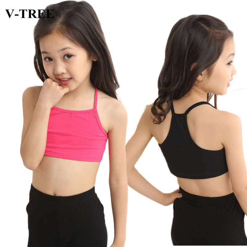 V-TREE Girls Bra camisole girl cotton vest child world of tank girls underwear candy color girls tank tops kids clothing models image