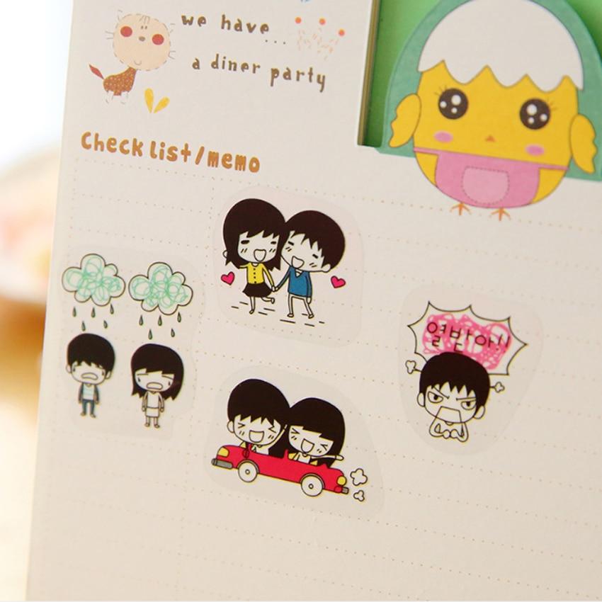 Купить с кэшбэком 5sheets/pack Cartoon Kawaii Sweetheart Daily Transparent PVC Decorative Stickers Scrapbooking Valentine's Day Gift Suppliers