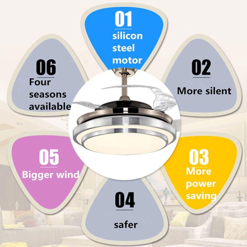 Современный простой потолочный вентилятор с дистанционным управлением, акриловые потолочные вентиляторы с листьями, светодиодные лампы для высоких потолков, потолочные вентиляторы для гостиной - 5