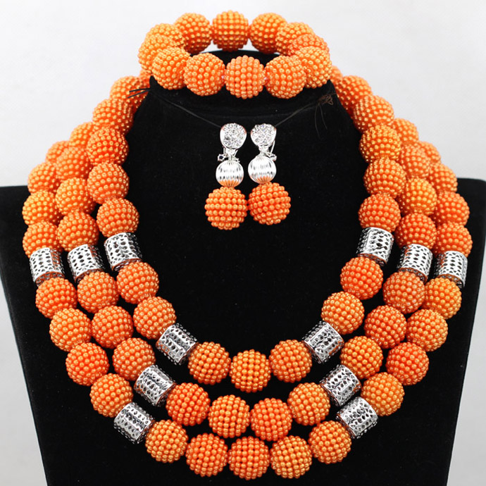 Splendid Orange African Costume Wedding Beads Balls Jewelry Set Sliver Plated Indian Bridal Jewelry Set Gift Free Shipping QW400Splendid Orange African Costume Wedding Beads Balls Jewelry Set Sliver Plated Indian Bridal Jewelry Set Gift Free Shipping QW400