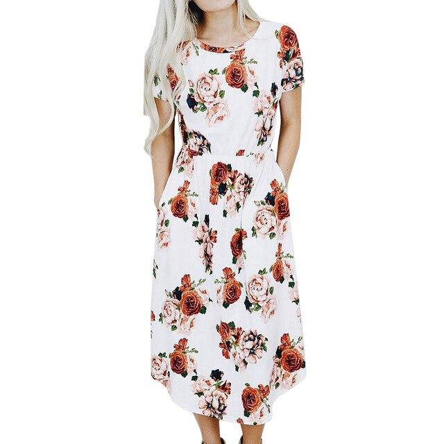 Boho Style Midi Dress Women Short Sleeve Beach Summer Dresses Floral Print  Vintage White O Neck Vestidos a6a2155470