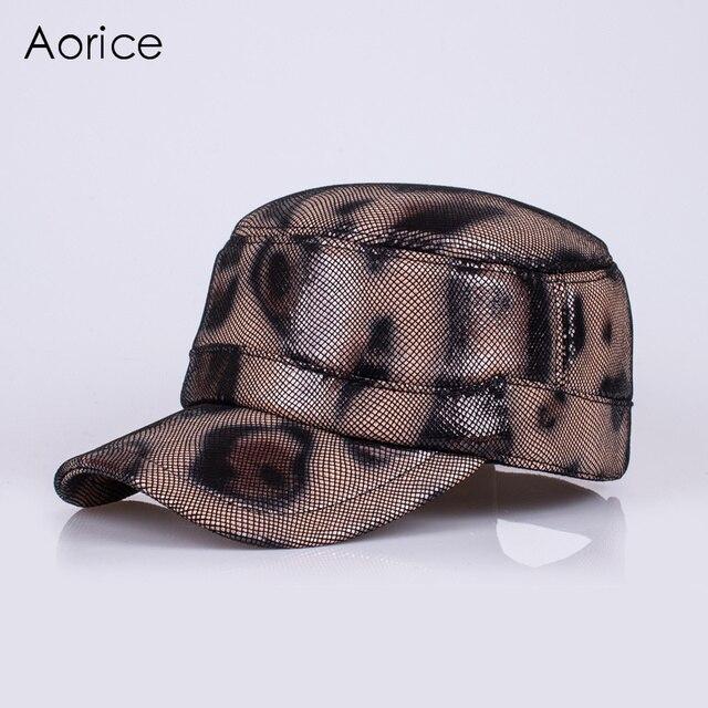 HL127-4 натуральная кожа бейсболка/hat мужская новый реального овчины кожа армии шапки/шляпы с Leopard цвет