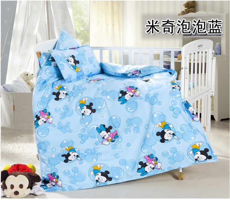 Discount! 3pcs Kitty Mickey Cotton Comfortable Baby Bed Sets Baby Crib Bedding Sets,include(duvet cover +sheet+pillowcase)