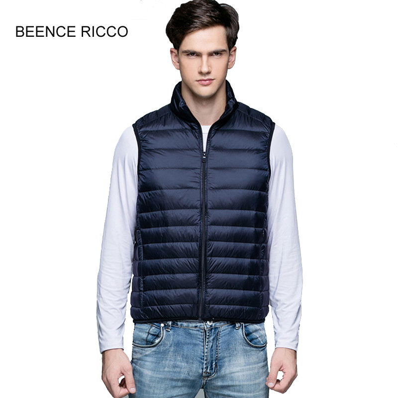 77221947390 New Plus Size Down Vest Men Winter Light Thin Slim Short Warm Sleeveless  Jacket Turtleneck Colete Masculino Inverno High Quality-in Vests    Waistcoats from ...