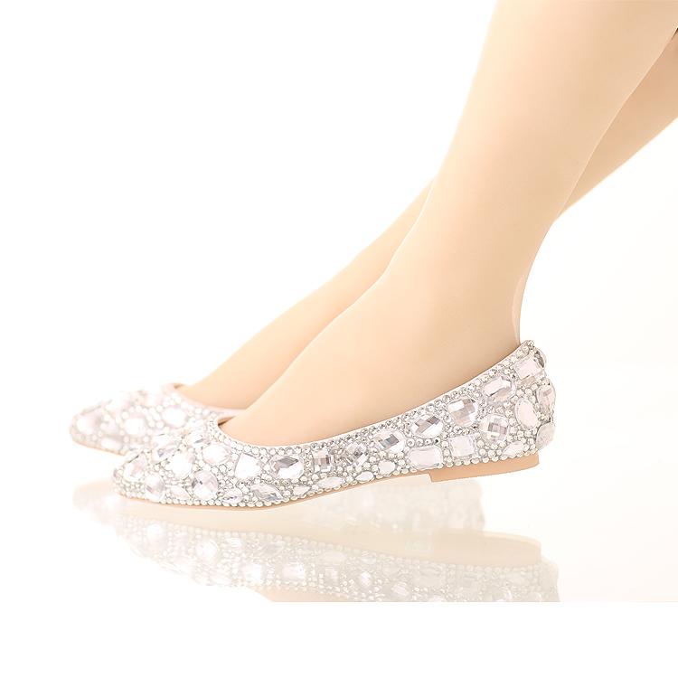 ФОТО Silver rhinestone women shoes flats pointed toe crystal rhinestone flats casual shoes women flat heel luxury flats women shoes