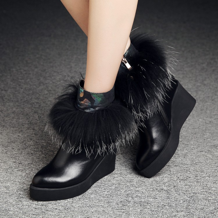 Women Autumn Winter Wedges Chunky Heel Side Zipper Genuine Leather Pointed Toe Fashion Warm Ankle Boots Size 34-39 SXQ0826 women autumn winter genuine leather thick mid heel side zipper round toe 2015 new fashion ankle boots size 34 39 sxq0905