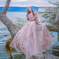 2017 Autumn Slash Collar Long Sleeved Strapless Dress Vintage Tiny Waist  Vacation Fairy Dress Woman Beach Chiffon Dress