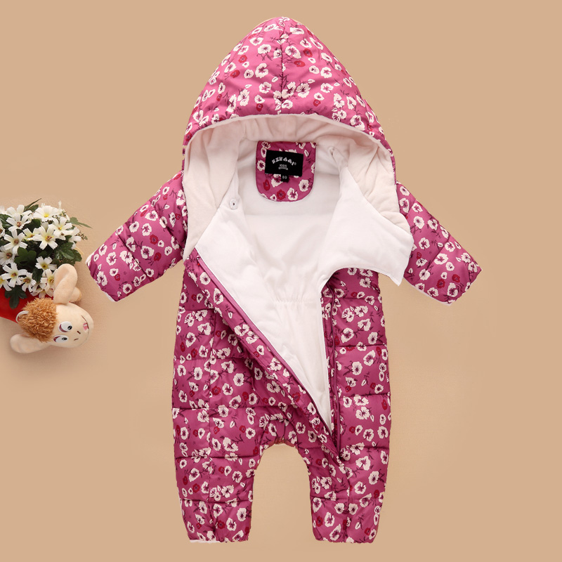 0-2 Years Newborn Baby Winter Coat Down Cotton 2017 New Infant Girls Snowsuit Warm Floral Printed Baby Boys Jacket Outwear Z116 2015 new girls design jacket luxury brand child outwear flower printed coat