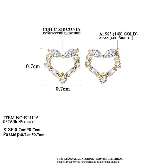 14k Gold Cubic Zircon Heart Stud Earrings 3