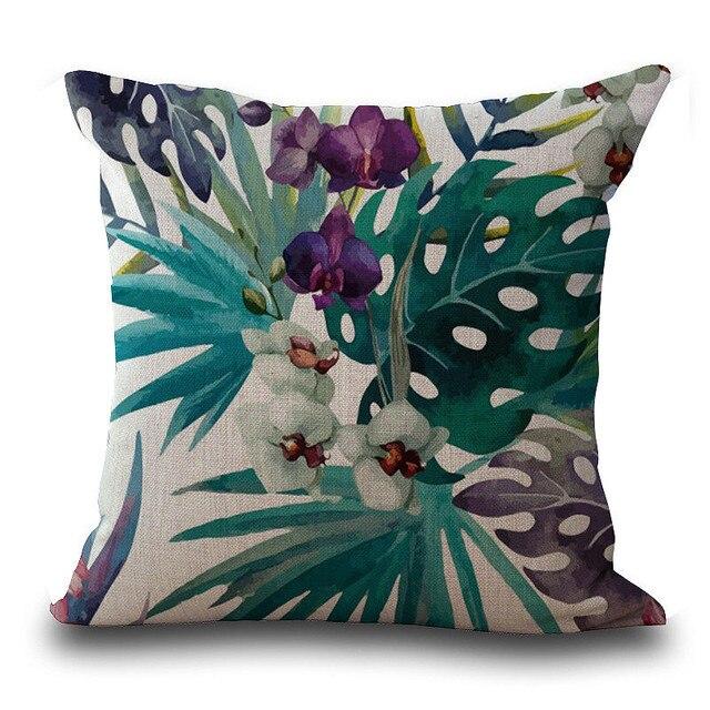 Housse de coussin en feuilles tropicales, Vintage de fleurs, couverture de coussin en coton et en lin coloré, canapé à la taille, housse de coussin, art décoratif à la maison