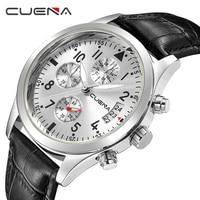 CUENA Men S Watch Men Watch 30M Waterproof Sport Watches Genuine Leather Fashion Military Watches Reloj