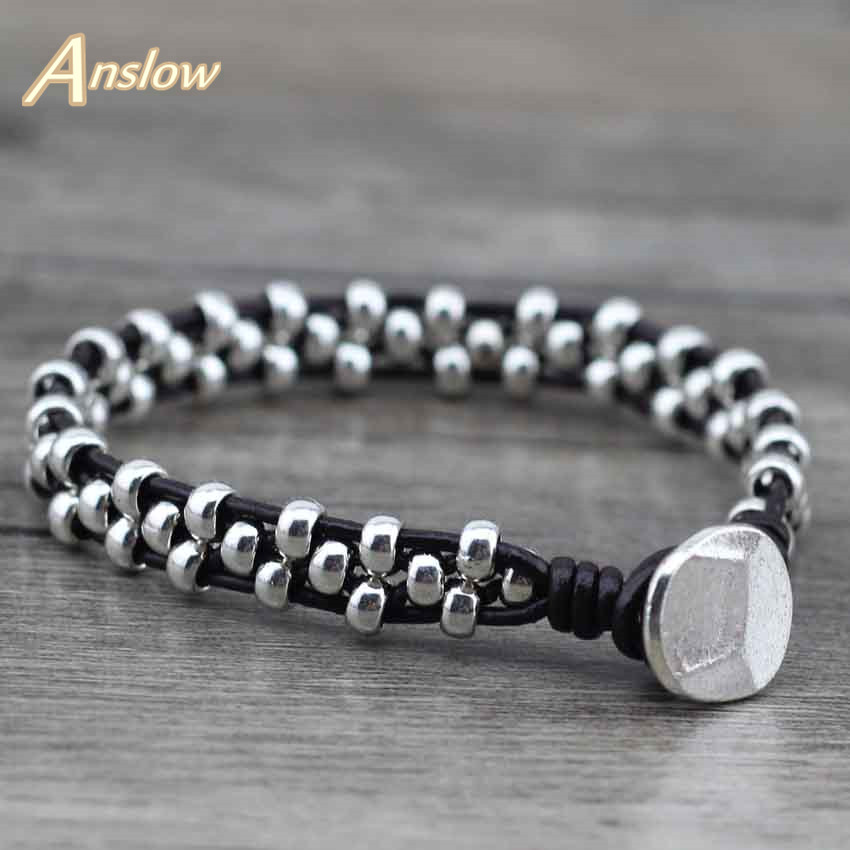 Anslow New Arrival Items Healthy Zinc Alloy Beads Women Men Girls Leather Bracelet Bijoux Charm Jewelry Accessories LOW0383LB