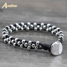 Anslow novos itens de chegada saudável liga de zinco grânulos feminino masculino meninas pulseira de couro bijoux charme jóias acessórios low0383lb