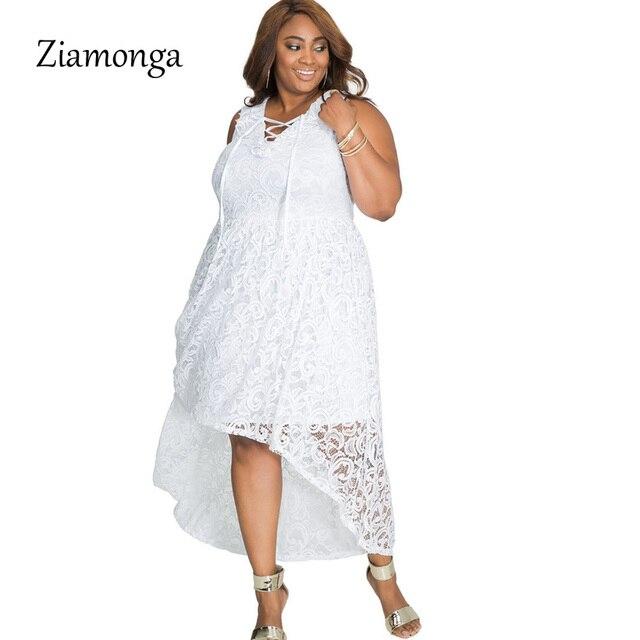Ziamonga Sexy Plus Size White Lace Dress Women Autumn Sleeveless Elegant  Christmas Maxi Long Dress Vestidos 1fac8356eaca
