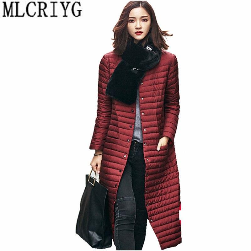 MLCRIYG Winter Women Ultra Light   Down   Jacket 90% White Duck   Down     Coats   Thin Long Warm Butoon   Coat   Female chaqueta mujer YQ274