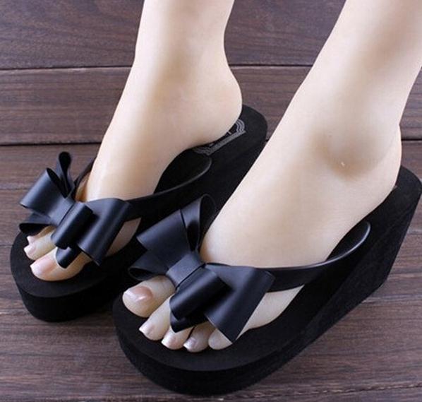 015 New Fashion Summer Women Platform High Heel Flip Flops Beach Sandals Bowknot Slippers Women Shoes Size6.0-7.5 For Choice