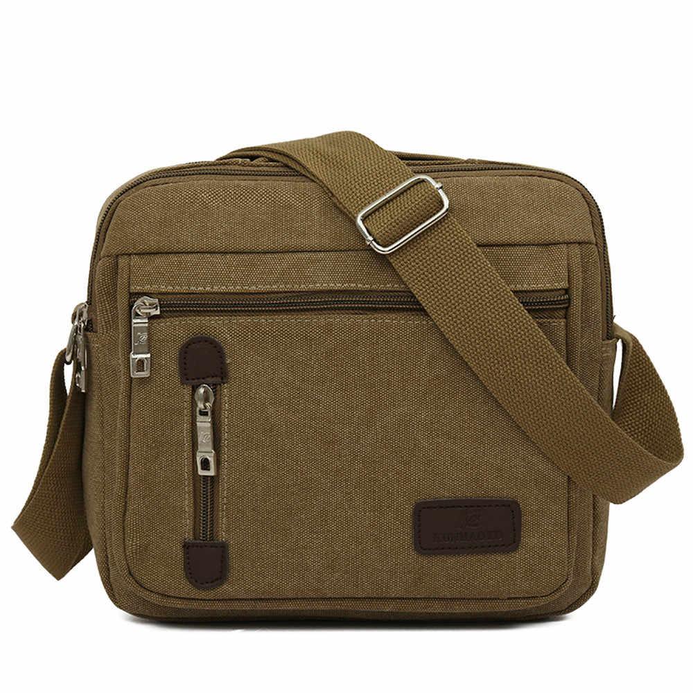 8b3c7f162047 Мужская сумка винтажная деловая сумка-мессенджер однотонная парусиновая  сумка через плечо мужская сумка Bolsa Masculina