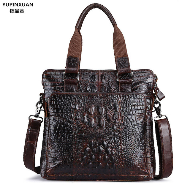 Yupinxuan Europe Fashion Cow Leather Briefcases For Men Vintage Handbags Businessman Crocodile Grain Messenger Bag Cowhide