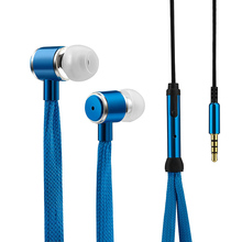 Shoelaces Earphone Stereo Metal Bass Headphones Music Earpieces with Microphone for iPhone Xiaomi Samsung Sport Headset