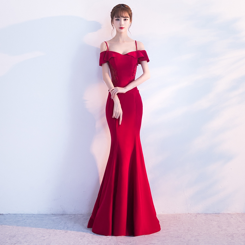 Red Chinese Bride Toast Clothes Elegant Women Wedding Party Gowns Sexy Slim Floor Length Mermaid Dress Vestidos Marriage Gift